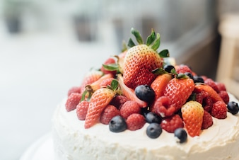 Cake with fruit on top