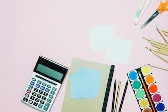 Calculator and watercolor
