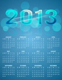 calendar bright colorful blue vector background