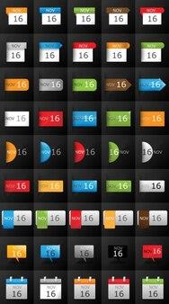 Calendar icon set for blogs