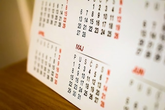 Calendar on the table