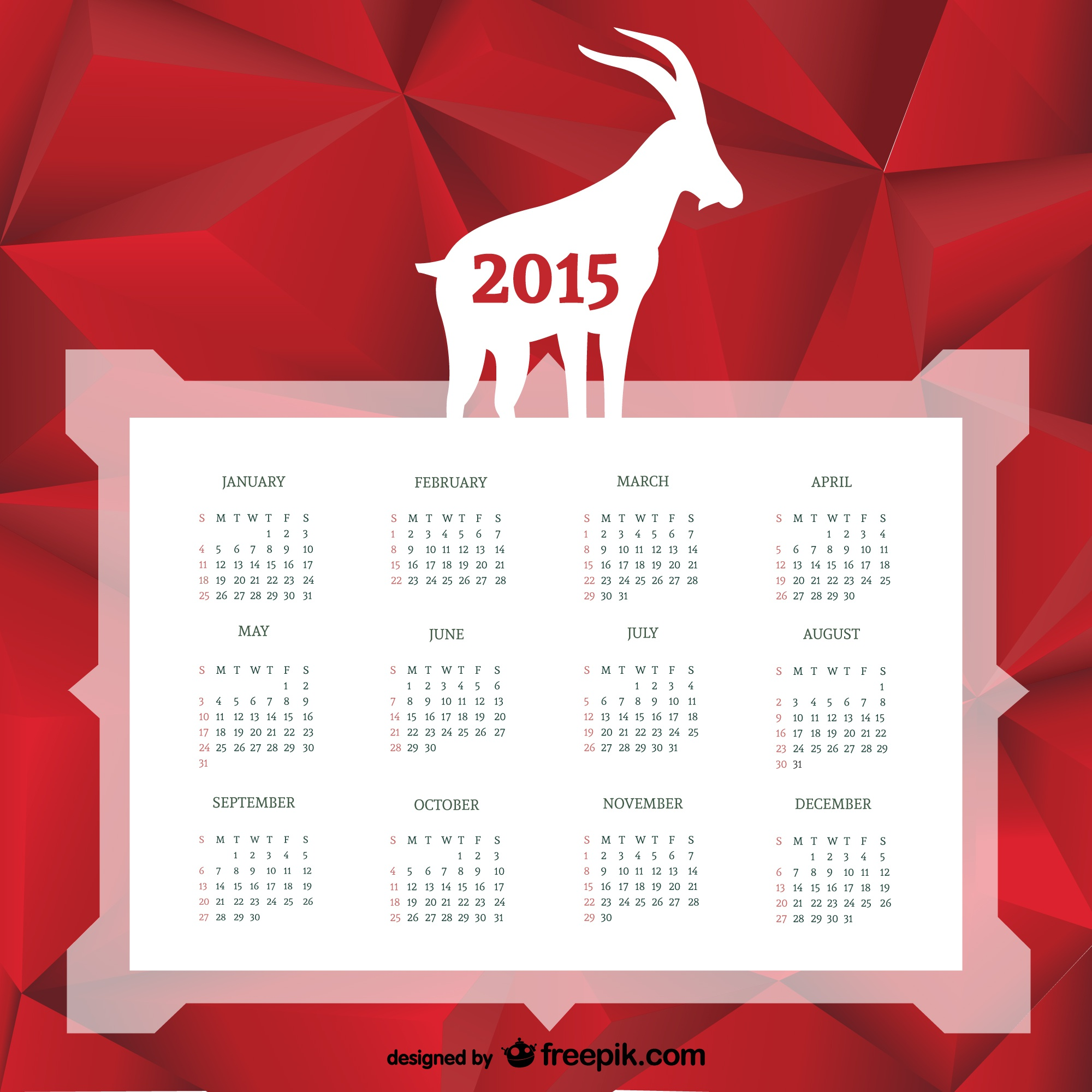 Calendar with goat silhouette