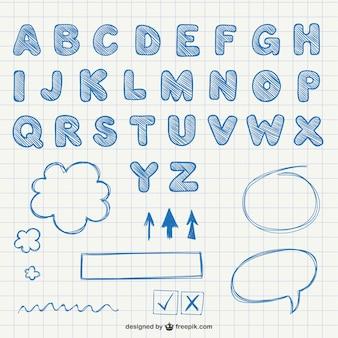 Calligraphic alphabet letters