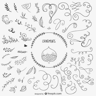 Calligraphic autumn elements