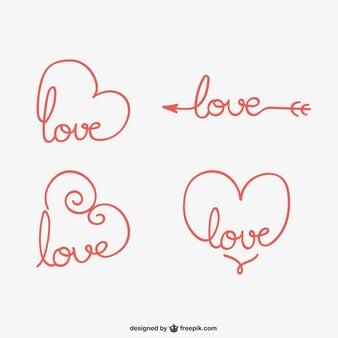 Calligraphic love ornaments