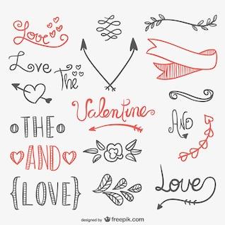 Calligraphic Valentines elements