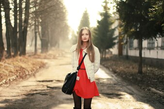 Calm girl with red dress