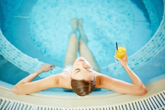 Calm woman in hot tub