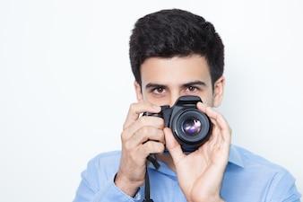 カメラ実業デジタルライフスタイルの男性