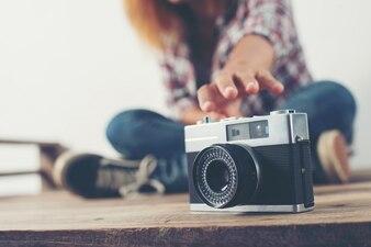 Camera photographing shooting close up woman