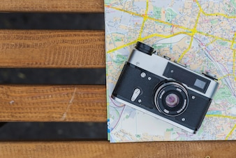 Camera with map on table