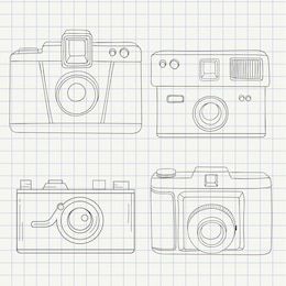 Cameras collection in hand drawn style