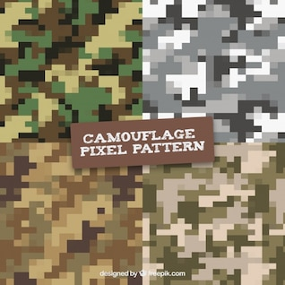 Camouflage digital pixilated vector patterns