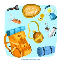 Camping equipment illustrations