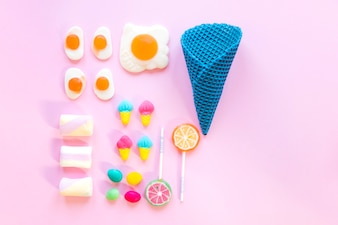 Candies with waffle cone arranged