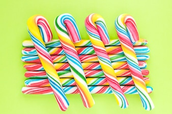 Candy canes in rows