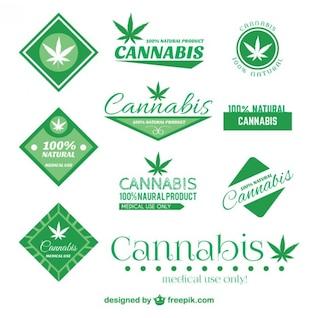 Cannabis badge set