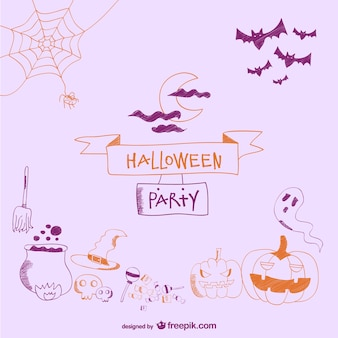 Card decorative doodle items for halloween