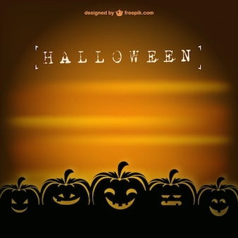 Card vector template of halloween pumpkins