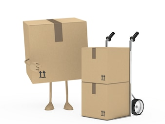 Cardboard box pointing other boxes