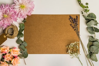 Cardboard sheet and flowers