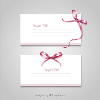 Cards template with a ribbon