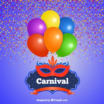 Carnival card with balloons and mask