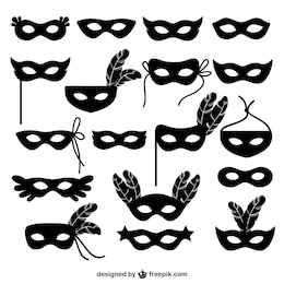 Carnival mask icons collection