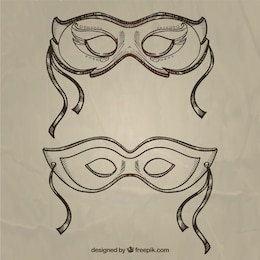 Carnival masks in sketchy style