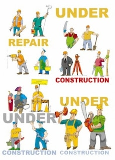 cartoon  workers tools under construction draw funny decoration
