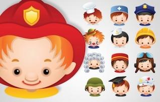 Cartoon avatars work professions set