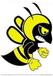 Cartoon bee mascot fighting