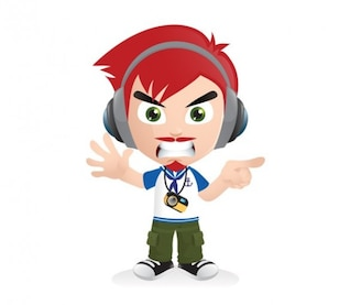 Cartoon boy with headphones vector png