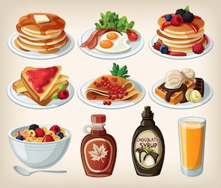 Cartoon breakfast plates delicius food