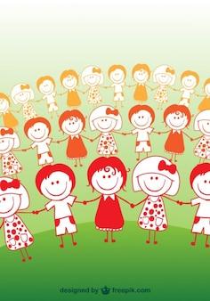 Cartoon Children Friendship Concept