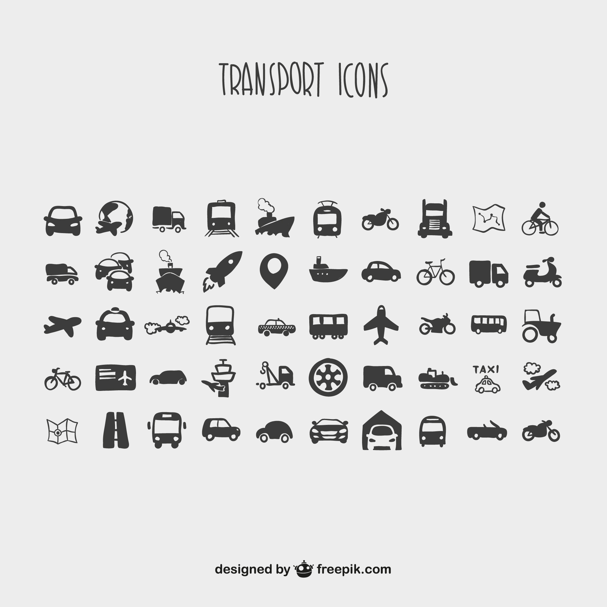 Cartoon collection of transport icons