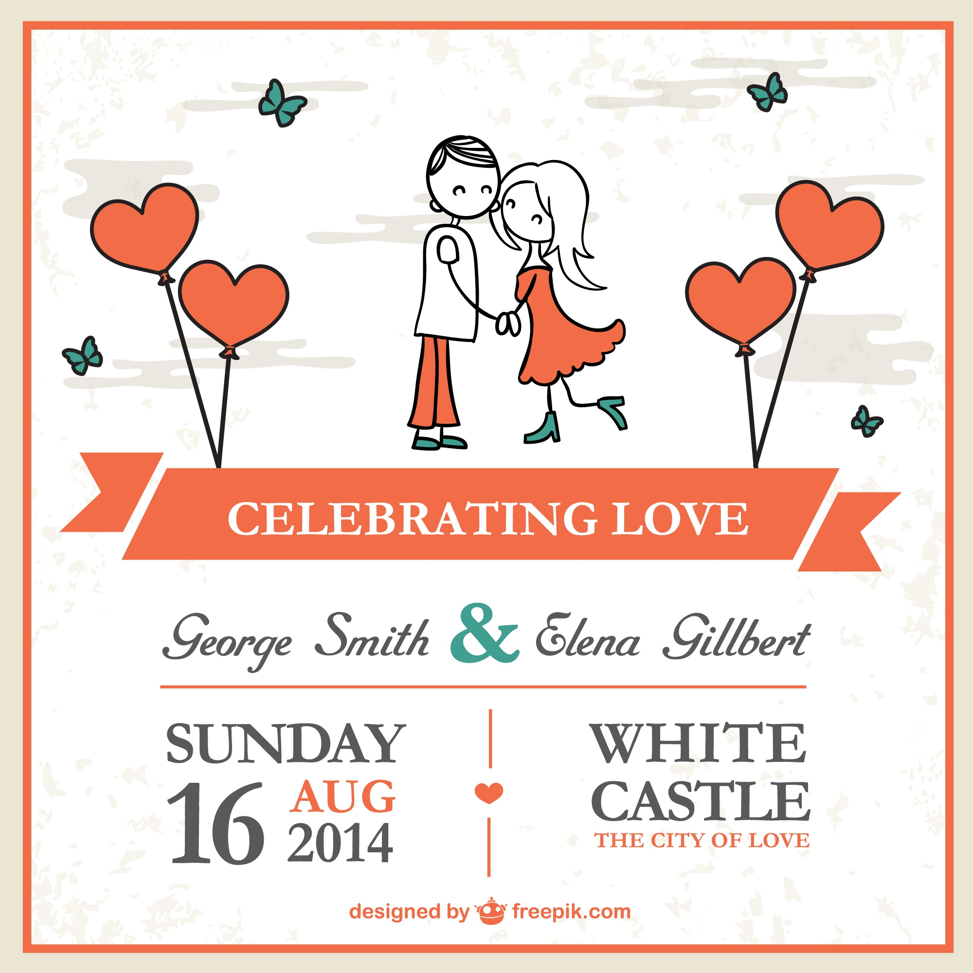 Cartoon couple wedding card template