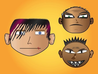 Cartoon Crazy angry faces vector
