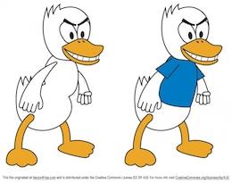 Cartoon duck in two versions