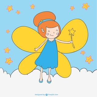 Cartoon fairy magic wand drawing