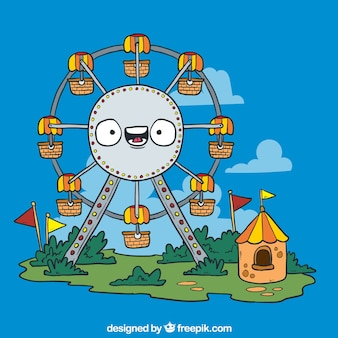 Cartoon ferris wheel