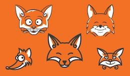 Cartoon fox heads in orange