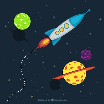Cartoon galaxy with a spaceship