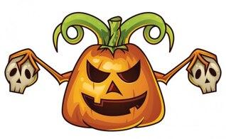 Cartoon halloween pumpkin with skulls