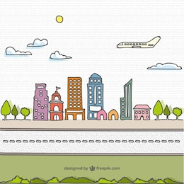 Cartoon hand drawn city vector