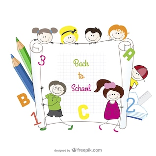 cartoon hand painted students    vector material