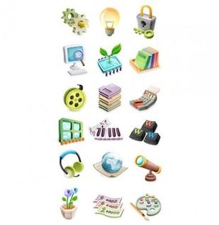 cartoon icons art music nature set