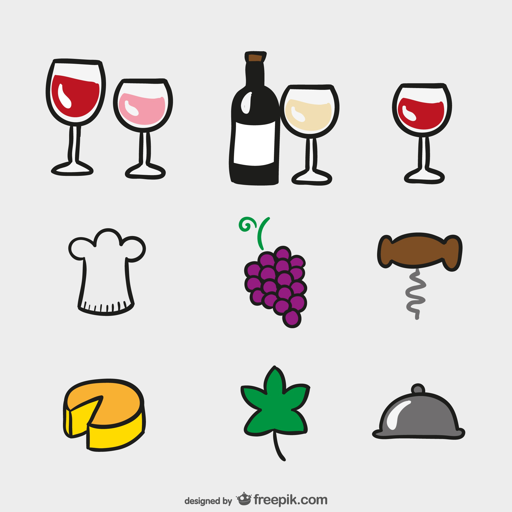 Cartoon icons of wine