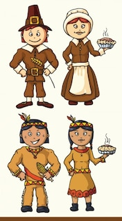 Cartoon indian characters illustration