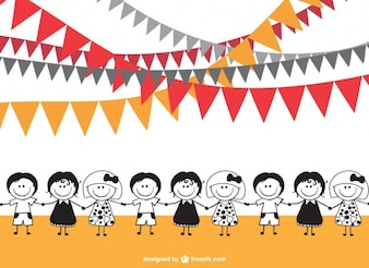 Cartoon kids unity vector